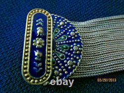 Turkish sterling silver Blue enamel 14 strand vintage bracelet Middle Eastern