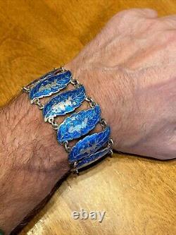 VNTG Ornate Signed SIAM STERLING Silver IRIDESCENT Blue Enamel 10 Link Bracelet