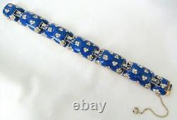 VTG Ciner Signed Blue Enamel & Rhinestone Bracelet withSafety Chain Gorgeous L@@K