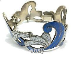 VTG Margot de Taxco Blue Wave Enamel Bracelet Mexican Sterling Silver & Enamel