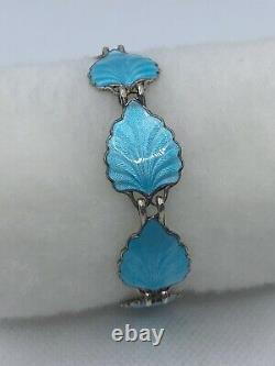 VTG NORWAY Sterling Silver Blue Enamel Leaf Link Bracelet 18.7g #y43