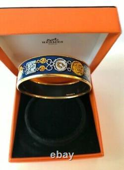 Very interesting Hermes Blue Enamel/Gold Horse shoe & chain bangle 7 size