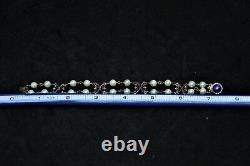 Victorian 14k Gold Pearl Blue Enamel Bracelet Antique 20 Pearls Approx 6.25 mm