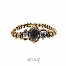 Victorian Garnet Bracelet © 1850 Blue Enamel Diamond 18k