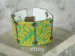 Vintag Kay Denning Mid-Century MOD Enamel Copper Link Bracelet Yellow Blue Green