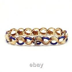 Vintage 14K Yellow Gold & Blue Enamel Leaf Link Bracelet