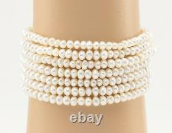 Vintage 18K Diamond Seven Multi Strand Seed Pearl Cobalt Blue Enamel Bracelet