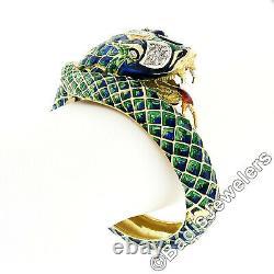 Vintage 18k Gold 0.75ct Diamond Green & Blue Enamel Snake Dragon Bangle Bracelet
