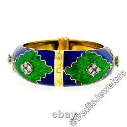 Vintage 18k Gold 2.64ctw Diamond Green & Blue Enamel Wide Open Bangle Bracelet