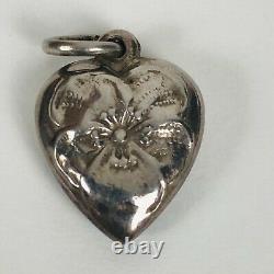 Vintage 1940's Sterling Blue Enamel Silver Puffy Heart Bracelet Charm Two Sided