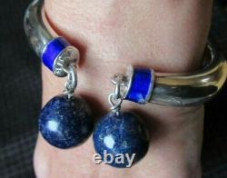 Vintage 1960's GUCCI Sterling Silver, Enamel, Blue Lapis Lazuli Cuff Bracelet
