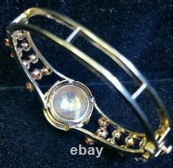 Vintage 4.25Ct Red Coral, Blue Enamel & Pearls, Yellow Gold Bangle Jewelry