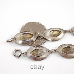 Vintage Aksel Holmsen Sterling Silver Modernist Blue White Enamel Bracelet 6.5