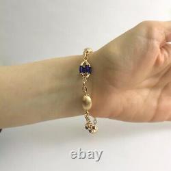 Vintage Blue Enamel UnoAerre Bead Chain Link Bracelet 18K Yellow Gold, 15.3 Gram
