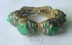 Vintage Chinese Sterling Silver Filigree Blue Enamel Malachite Bracelet