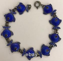 Vintage Christgau Denmark Sterling Blue Enamel 6 Fish Bracelet