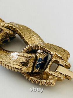 Vintage Ciner Goldtone Navy Blue Enamel Chain Link Bracelet