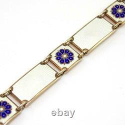 Vintage David Andersen Modernist Blue White Enamel Panel Bracelet 7.25