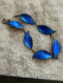 Vintage David Anderson Blue Enamel Leaf Bracelet Sterling Silver Norway D-A