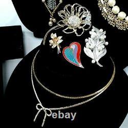 Vintage Designer/Signed Lot of 35, Trifari, Monet, Coro, Laurel Burch, Sarah Cov
