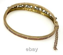 Vintage Diamond, Sapphire and Enamel Bangle Bracelet in14k Gold- HM1123SB
