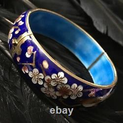 Vintage Estate Blue Cloisonné Bird Cherry Blossom Hinged Bangle Bracelet 7.5