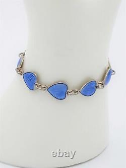 Vintage Finn Jensen Norway Gilt 925 Sterling Blue Enamel HEARTS Bracelet