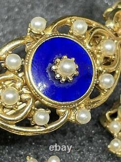 Vintage Florenza Set Bracelet Earrings Clips Blue Guilloche Enamel Pearl Gold
