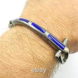 Vintage Gucci Sterling Silver 925 Horsebit Blue Enamel Bracelet 7.5 inches Long