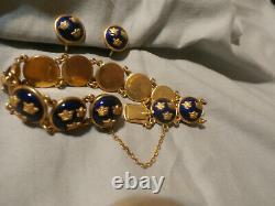 Vintage Guilloche Enamel Bracelet Earring Set Signed Sporrong Swedish Tre Kronor