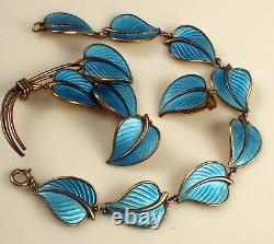 Vintage Hans Myhre Norway Sterling Silver Blue Enamel Pin Earrings Bracelet Set