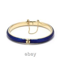 Vintage Italian 18k Gold Hinged Bangle with Cobalt Blue Enamel