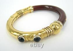 Vintage Italian Red & Blue Enamel 18K Yellow Gold Hand Made Flex Bangle