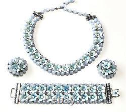 Vintage LERU Blue Moonglow Enamel Necklace Earrings Bracelet Set Parure
