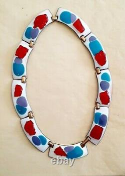 Vintage MCM Enameled Kay Denning necklace red white blue purple