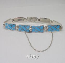Vintage Margot de Taxco Sterling Silver Blue Enamel Mexican Link Bracelet 5769