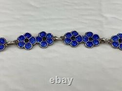 Vintage Meka Denmark Sterling Blue Guilloche Enamelled Forget Me Not Bracelet