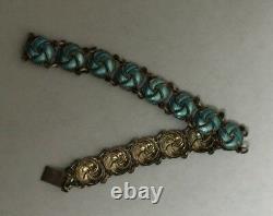 Vintage Meka Reklamegaver Sterling Silver Bracelet with Blue Enamel Links 7 1/4