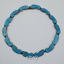 Vintage Mid Century Beto Taxco, Mexico Blue Enamel, Necklace, Bracelet, Earrings