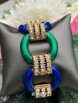 Vintage Signed Ciner Designer Rhinestone & Enamel Blue Green Bracelet Couture