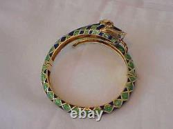 Vintage Solid 18k Gold Green & Blue Enamel Snake Bangle Bracelet Rare