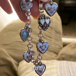 Vintage Sterling Blue Enamel Guilloche Puffy Heart Charm Dot Dash Bracelet