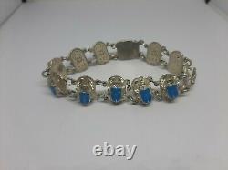 Vintage Sterling Silver Blue Enamel Egyptian Scarab Beetle Bracelet 8inch 29.4g
