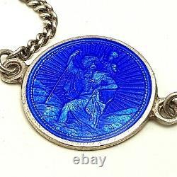 Vintage Sterling Silver Blue Enamel St. Christopher Bracelet
