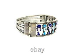 Vintage Sterling Silver Egyptian Blue Enamel Ankh Design Cuff Bracelet