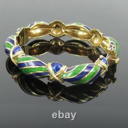 Vintage Tiffany & Co Blue Green Enamel & 18K yellow God Hinged Curved Bangle