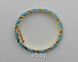 Vintage Tiffany & Co Light Blue Enamel Twist Stripe 18K Gold Bangle Bracelet