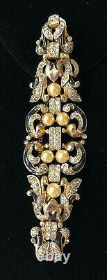 Vintage Trifari Alfred Phillipe Empress Eugenie BraceletPearls/Blue Enamel/RS