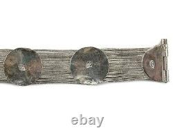 Vintage Turkish Sterling Silver Blue Enamel Medallion and Multi Chain Bracelet