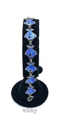 Vintage Volmer Bahner Sterling Silver Blue Enamel Fish Link Bracelet A9